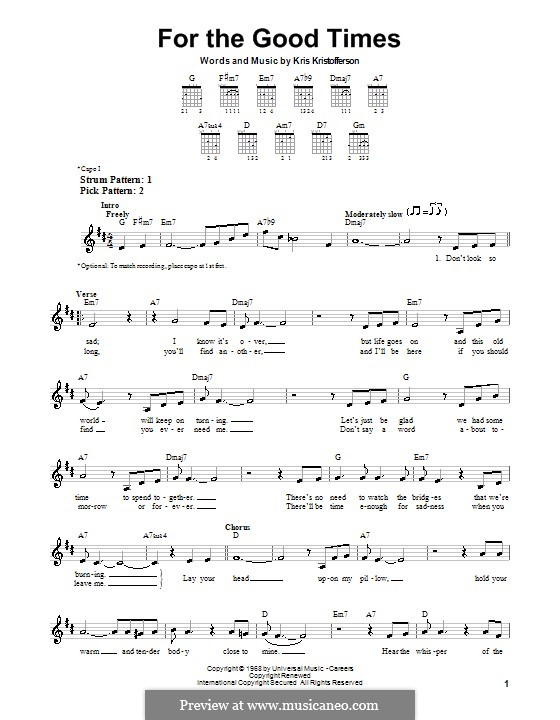 For the Good Times (Ray Price): Для гитары (очень легкая версия) by Kris Kristofferson