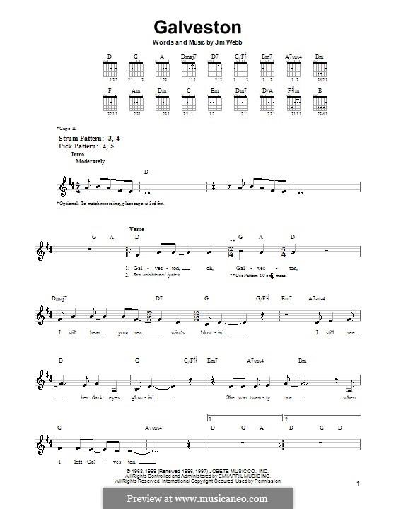 Galveston (Glen Campbell): Для гитары (очень легкая версия) by Jimmy Webb