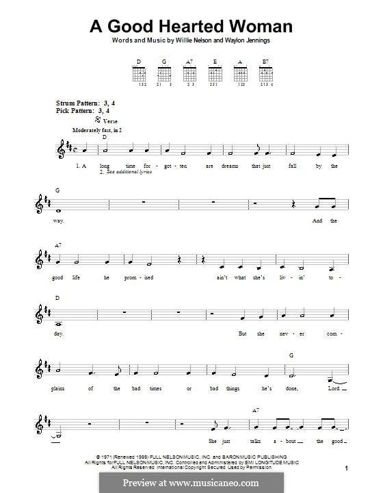 A Good Hearted Woman: Для гитары (очень легкая версия) by Waylon Jennings, Willie Nelson