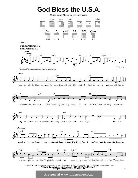 God Bless the U.S.A.: Для гитары by Lee Greenwood