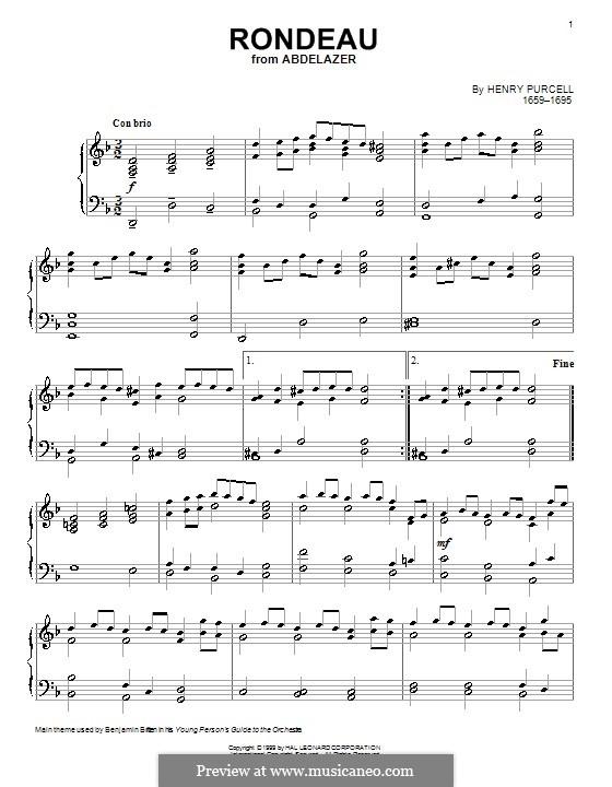 Абделазар, или Месть мавра: Рондо. Переложение для фортепиано by Генри Пёрсел