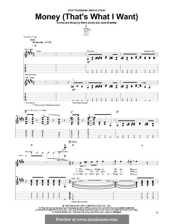Money (That's What I Want): Гитарная табулатура (The Beatles) by Berry Gordy, Janie Bradford
