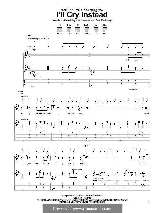 I'll Cry Instead (The Beatles): Гитарная табулатура by John Lennon, Paul McCartney