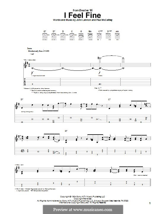 I Feel Fine (The Beatles): Гитарная табулатура by John Lennon, Paul McCartney