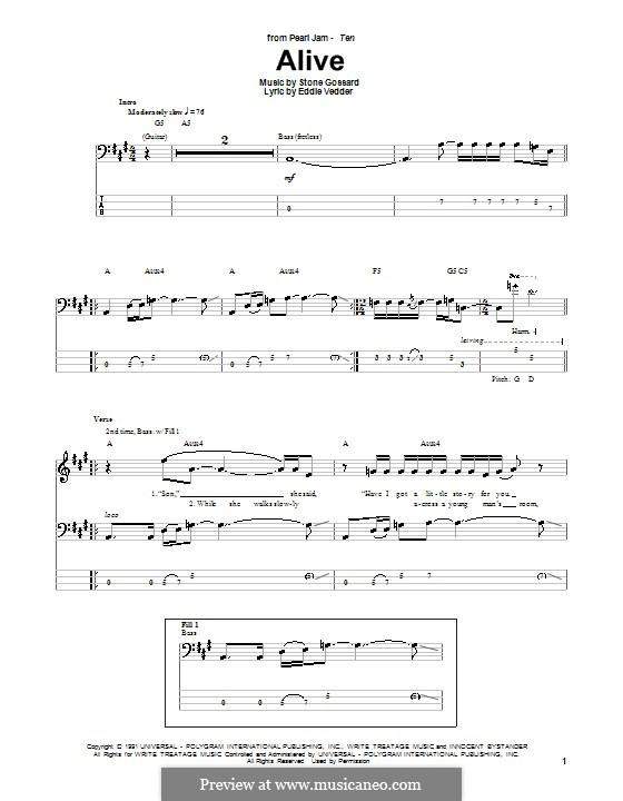 Alive (Pearl Jam): Для бас-гитары с табулатурой by Stone Gossard