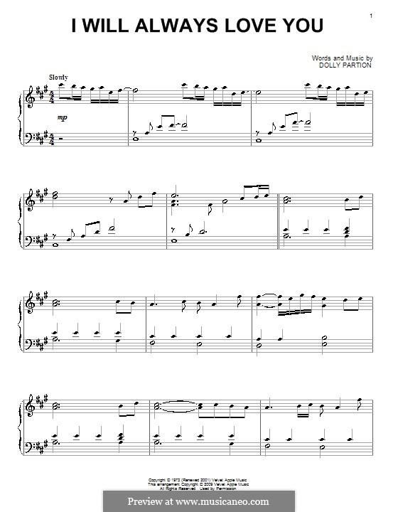 I Will Always Love You (Whitney Houston): Для фортепиано by Dolly Parton