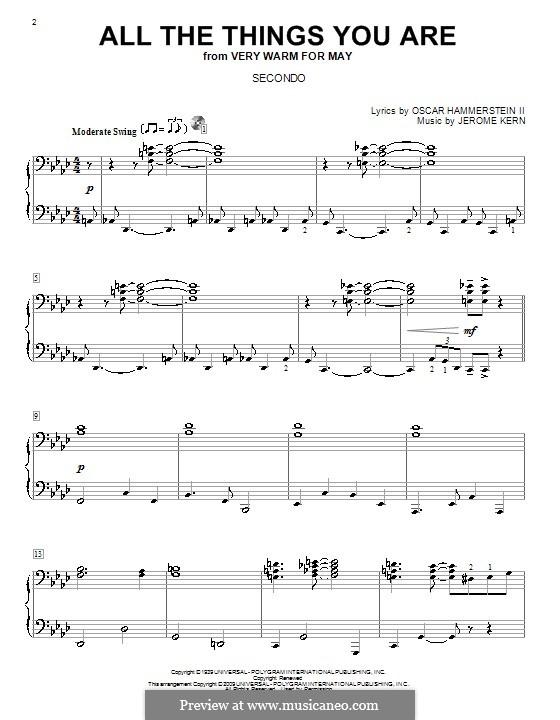 All the Things You are, for Piano: Версия для фортепиано в 4 руки by Джером Керн