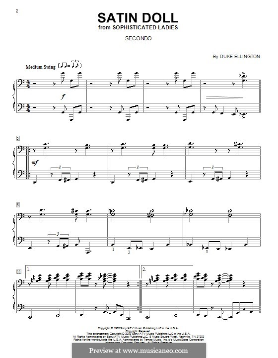 Satin Doll, for Piano: For four hands by Billy Strayhorn, Duke Ellington