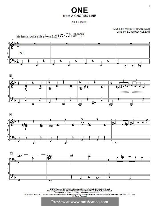 One (from A Chorus Line): Для фортепиано в 4 руки by Marvin Hamlisch