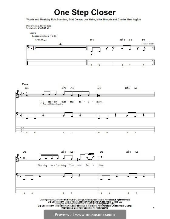 One Step Closer (Linkin Park): Для бас-гитары с табулатурой by Brad Delson, Charles Bennington, Joseph Hahn, Mike Shinoda, Rob Bourdon