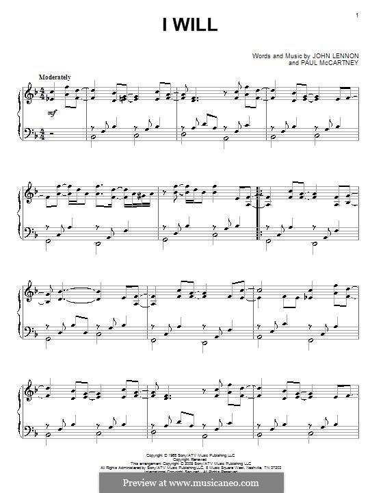 I Will (The Beatles): Для фортепиано by John Lennon, Paul McCartney