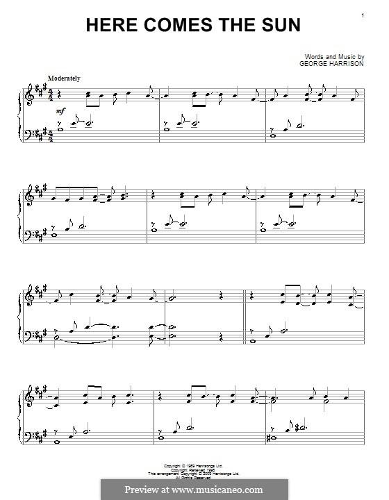 Here Comes the Sun (The Beatles): Для фортепиано (ноты высокого качества) by George Harrison