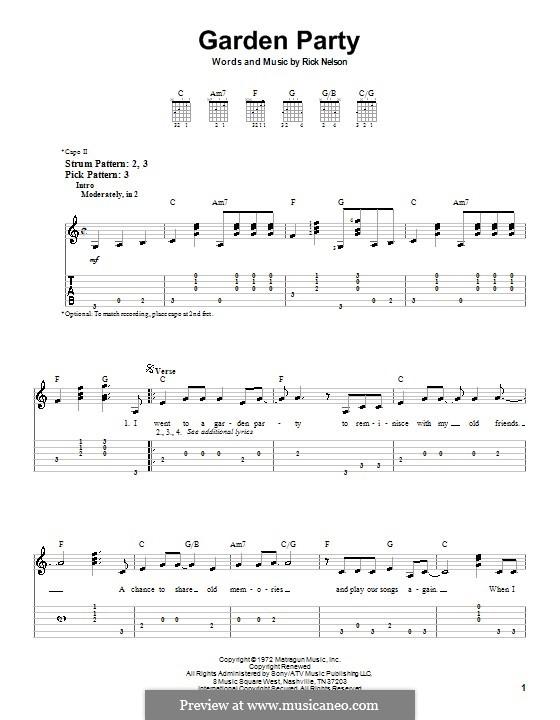 Garden Party: Для гитары (очень легкая версия) by Rick Nelson