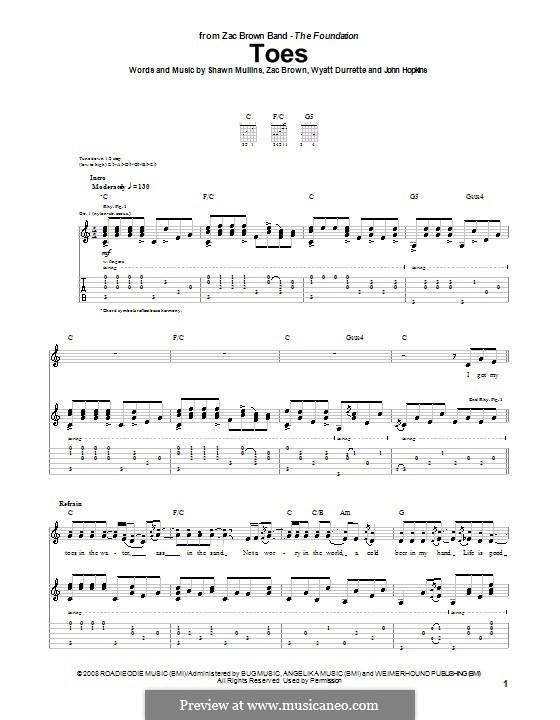 Toes (Zac Brown Band): Гитарная табулатура by John Driskell Hopkins, Shawn Mullins, Wyatt Durrette, Zac Brown