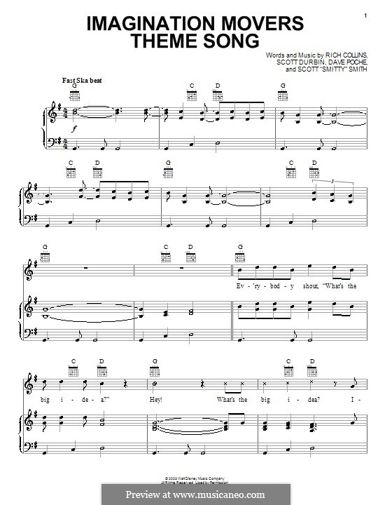 Imagination Movers Theme Song (Imagination Movers): Для голоса и фортепиано (или гитары) by Dave Poche, Rich Collins, Scott Durbin, Scott Smith