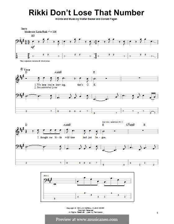 Rikki Don't Lose That Number (Steely Dan): Для бас-гитары с табулатурой by Donald Fagen, Walter Becker
