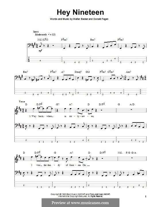 Hey Nineteen (Steely Dan): Для бас-гитары с табулатурой by Donald Fagen, Walter Becker