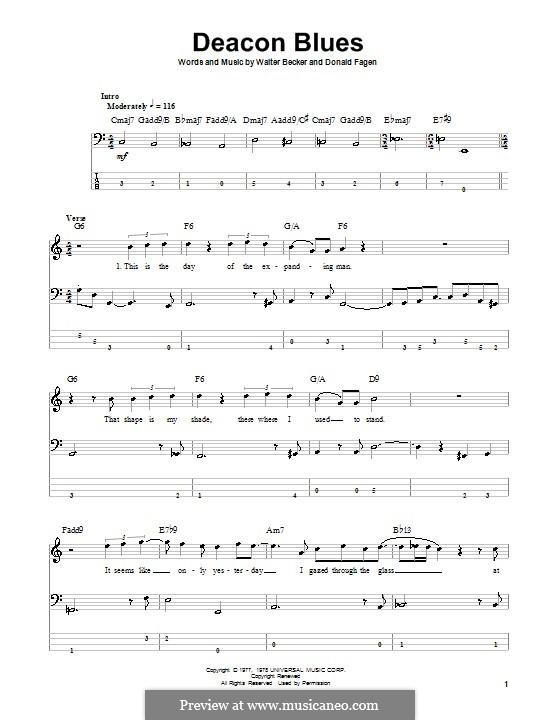 Deacon Blues (Steely Dan): Для бас-гитары с табулатурой by Donald Fagen, Walter Becker