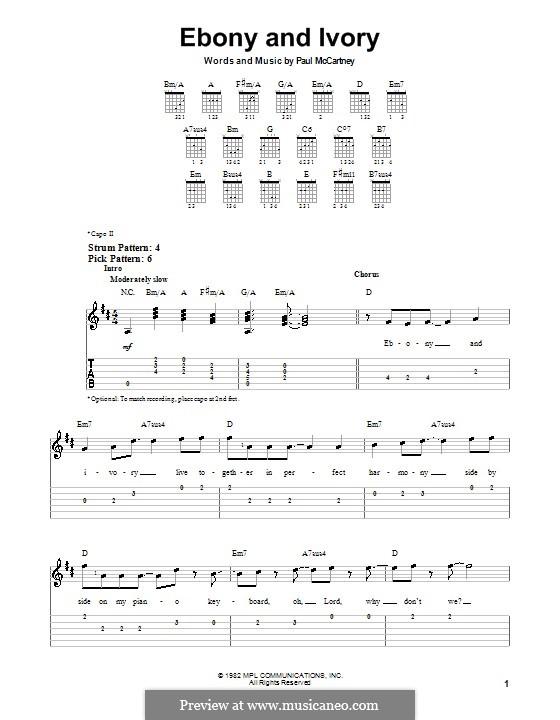 Ebony and Ivory: Для гитары (очень легкая версия) by Paul McCartney