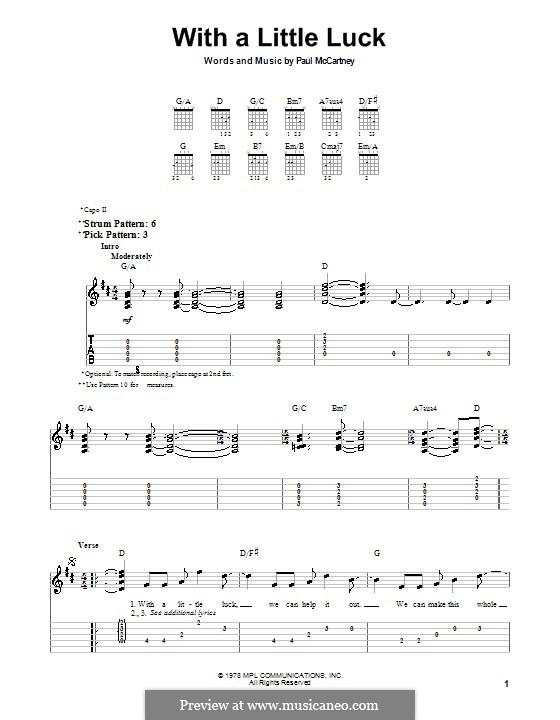 With a Little Luck: Для гитары (очень легкая версия) by Paul McCartney