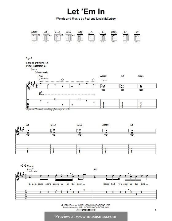Let 'Em in (Wings): Для гитары (очень легкая версия) by Linda McCartney, Paul McCartney