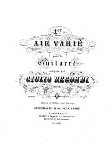 Ария с вариациями No.1, Op.21: Для гитары by Джулио Регонди