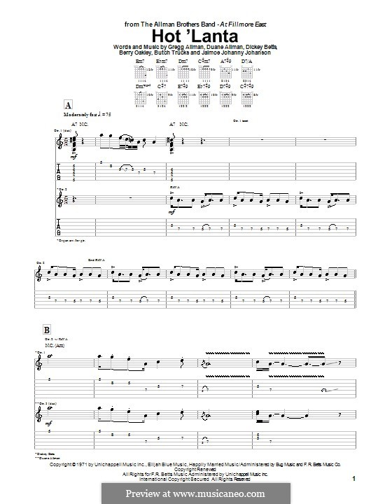 Hot 'Lanta (The Allman Brothers Band): Для гитары с табулатурой by Berry Oakley, Butch Trucks, Dickey Betts, Gregg Allman, Jaimoe Johanny Johanson