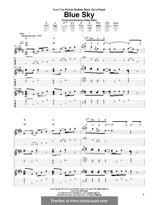 Blue Sky (The Allman Brothers Band): Гитарная табулатура by Dickey Betts