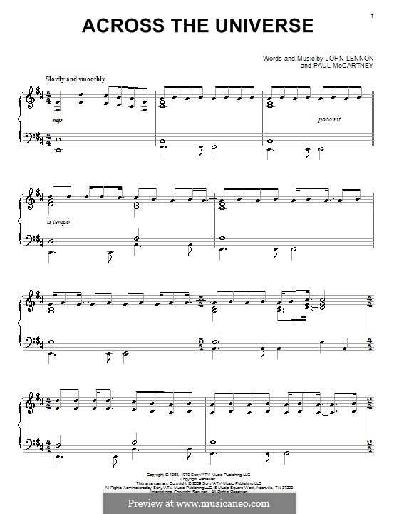 Across the Universe (The Beatles): Для фортепиано by John Lennon, Paul McCartney