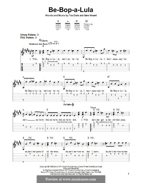 Be-Bop-A-Lula: Для гитары (очень легкая версия) by Gene Vincent, Sheriff Tex Davis