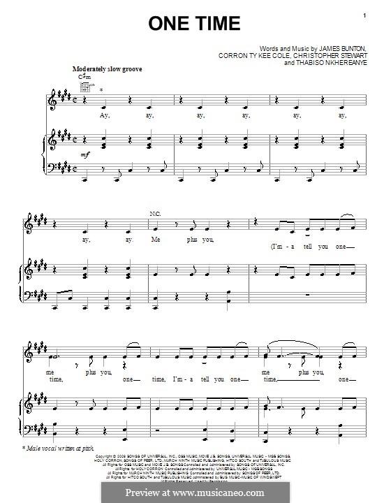 One Time (Justin Bieber): Для голоса и фортепиано (или гитары) by Tricky Stewart , Corron Ty Kee Cole, James Bunton, Thabiso Nkhereanye