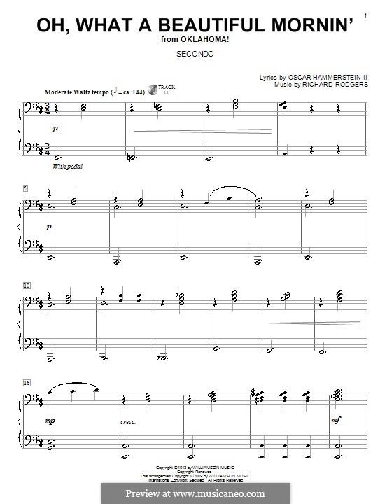 Oh, What a Beautiful Mornin' (from 'Oklahoma!'): Для фортепиано в 4 руки by Richard Rodgers