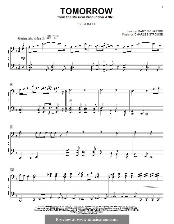 Tomorrow (from Annie): Для фортепиано в 4 руки by Charles Strouse