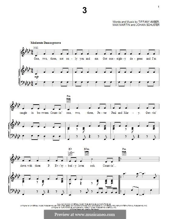 3 (Britney Spears): Для голоса и фортепиано (или гитары) by Shellback, Max Martin, Tiffany Amber