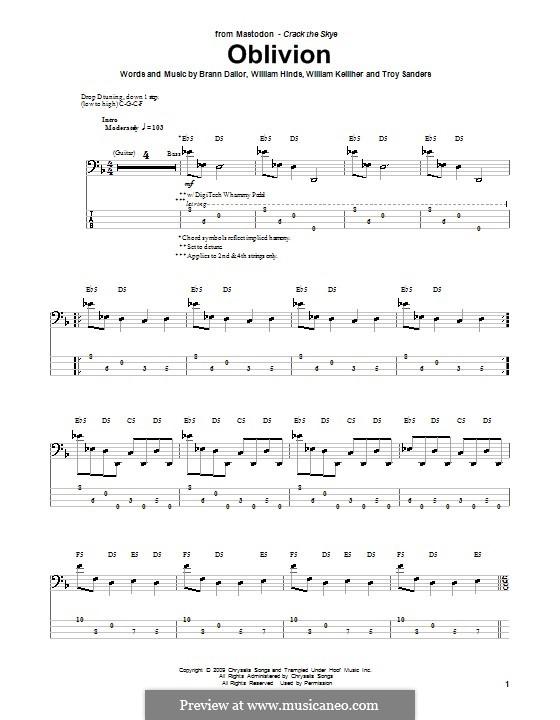Oblivion (Mastodon): Для бас-гитары с табулатурой by Brann Dailor, Troy Sanders, William Hinds, William Kelliher