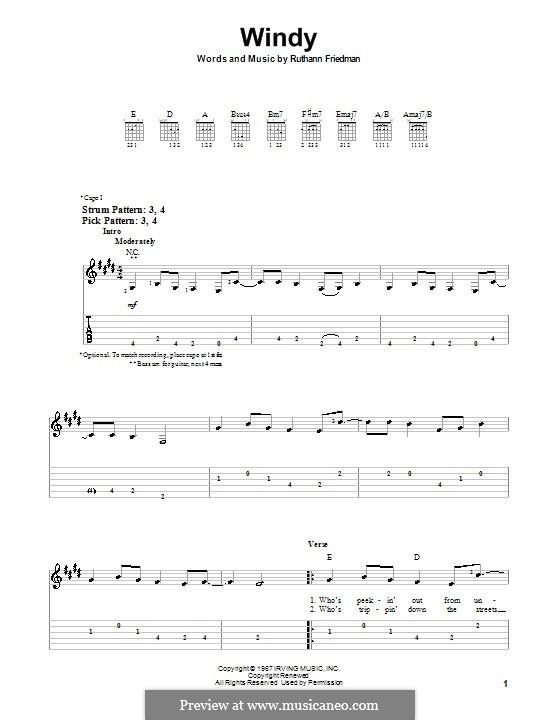 Windy (The Association): Для гитары (очень легкая версия) by Ruthann Friedman