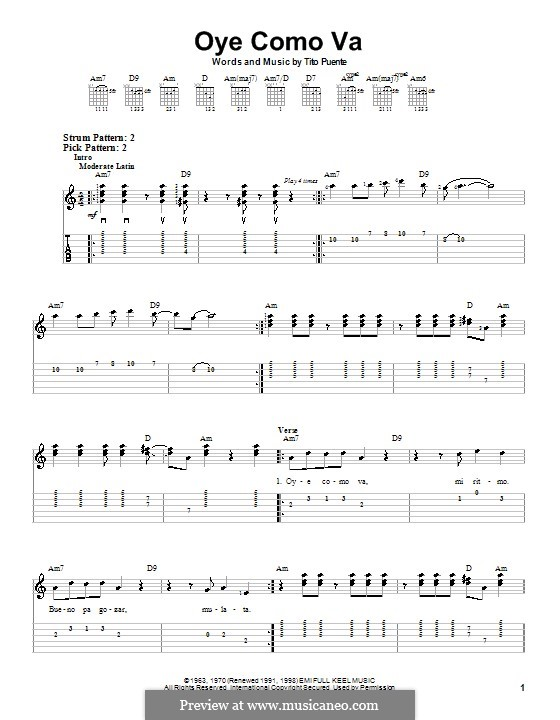 Oye Como Va (Santana): Для гитары (очень легкая версия) by Tito Puente