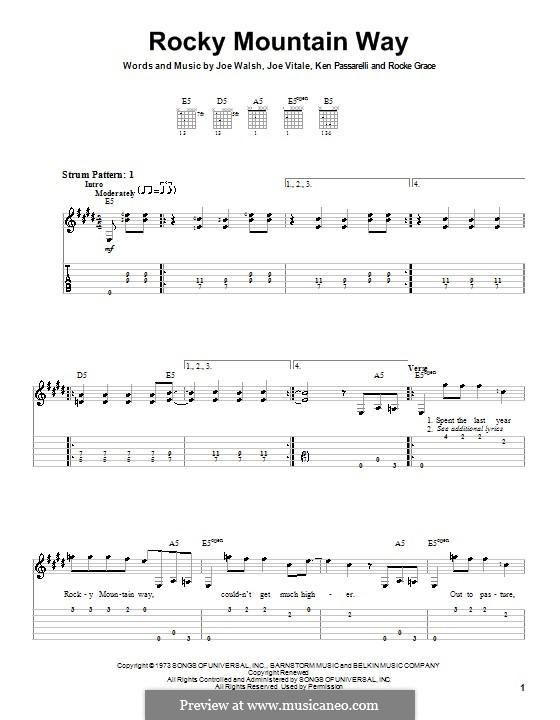 Rocky Mountain Way: Легкая гитарная табулатура by Joe Vitale, Joe Walsh, Ken Passarelli, Rocke Grace