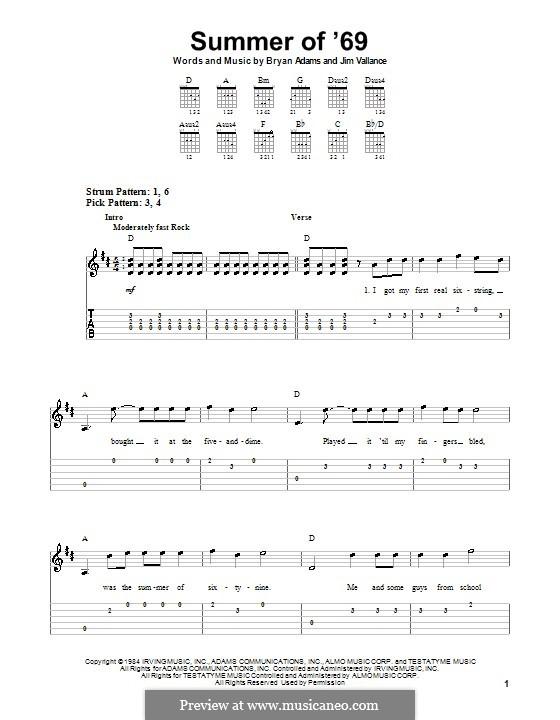 Summer of '69: Для гитары (очень легкая версия) by Bryan Adams, Jim Vallance