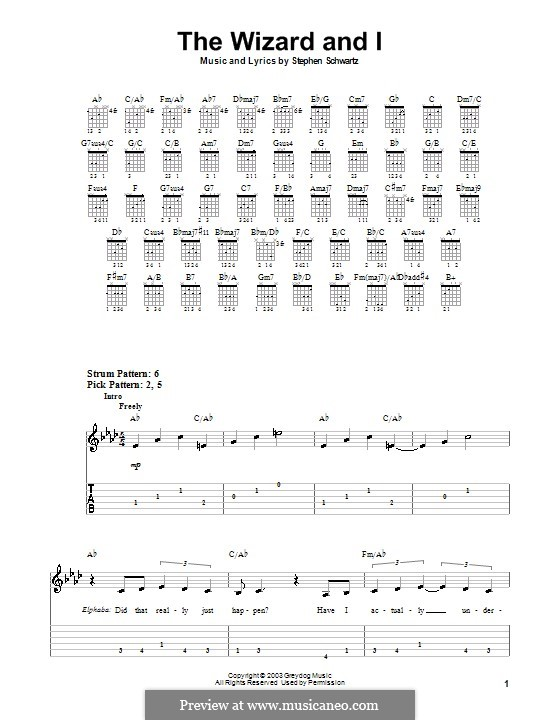 The Wizard and I: Для гитары (очень легкая версия) by Stephen Schwartz