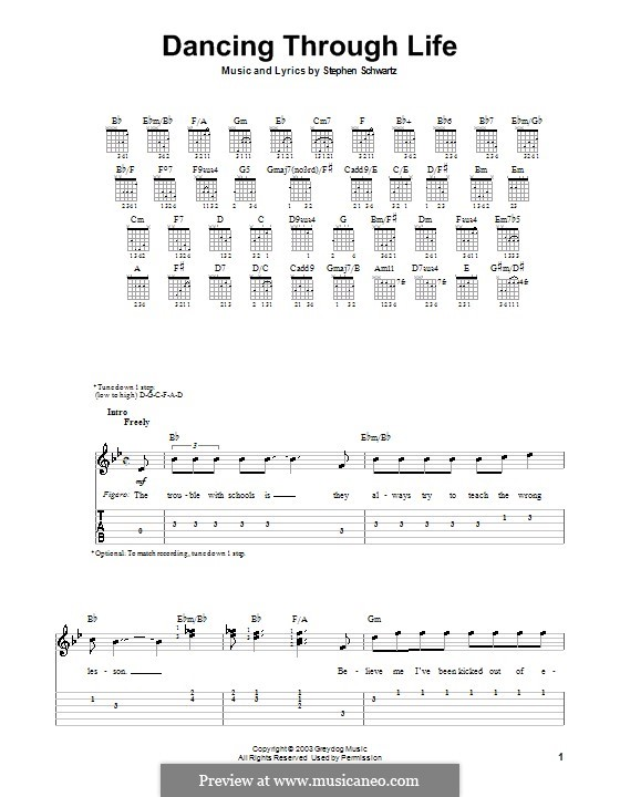 Dancing Through Life (from Wicked): Для гитары (очень легкая версия) by Stephen Schwartz