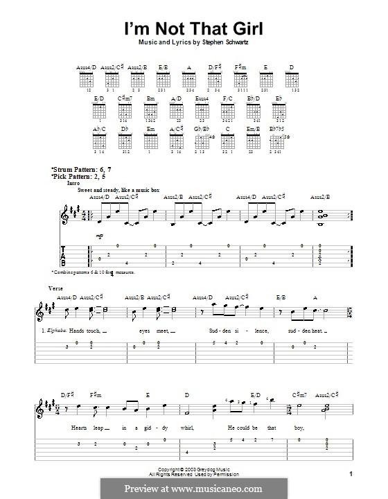 I'm Not That Girl (from Wicked): Легкая гитарная табулатура by Stephen Schwartz