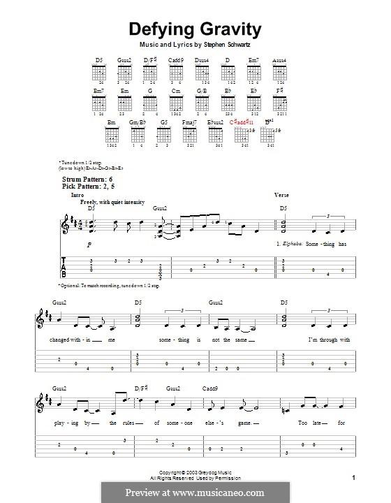 Defying Gravity (from the Broadway Musical Wicked): Для гитары (очень легкая версия) by Stephen Schwartz