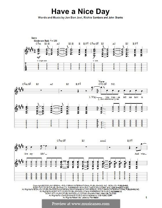 Have a Nice Day (Bon Jovi): Гитарная табулатура by John M Shanks, Jon Bon Jovi, Richie Sambora