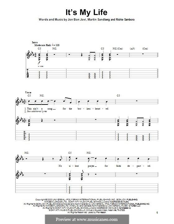 It's My Life (Bon Jovi): Гитарная табулатура by Jon Bon Jovi, Max Martin, Richie Sambora