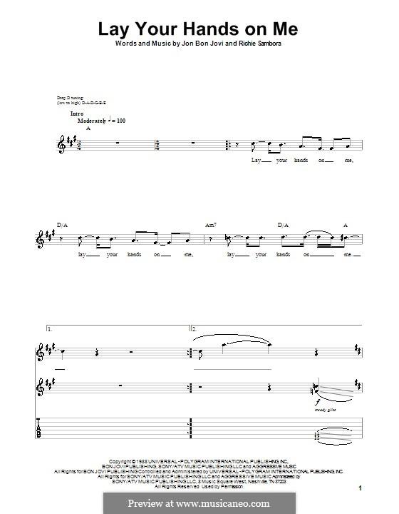 Lay Your Hands on Me (Bon Jovi): Гитарная табулатура by Jon Bon Jovi, Richie Sambora