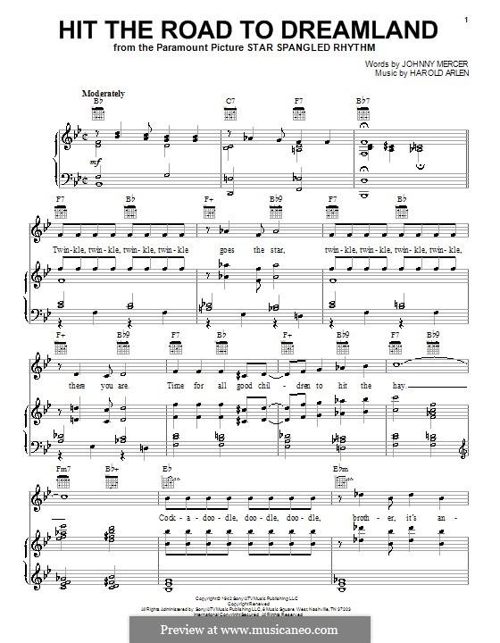 Hit the Road to Dreamland: Для голоса и фортепиано (или гитары) by Harold Arlen