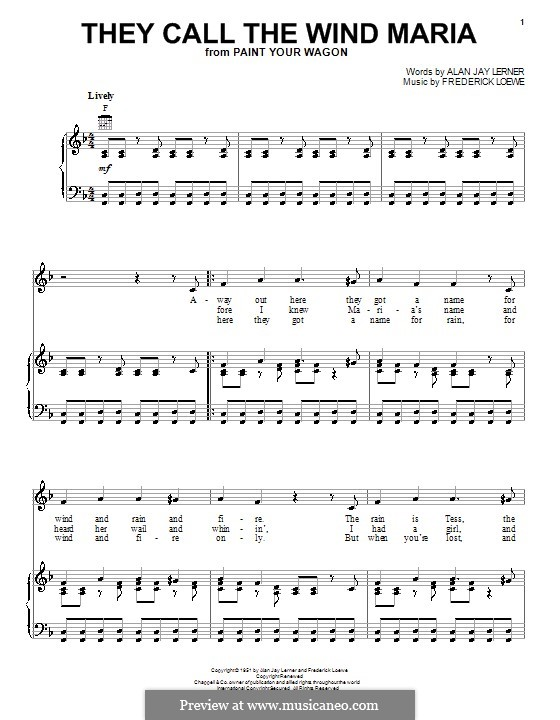 They Call the Wind Maria: Для голоса и фортепиано (или гитары) by Frederick Loewe
