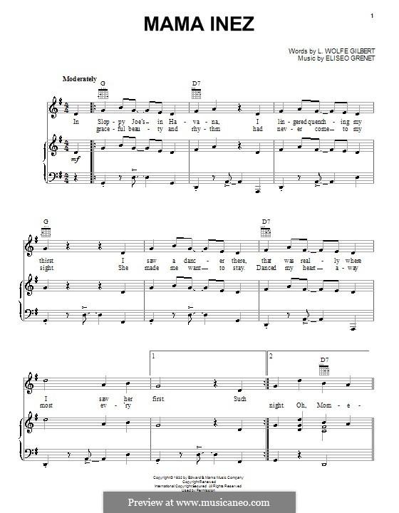 Mama Inez (Eliseo Grenet): Для голоса и фортепиано (или гитары) by L. Wolfe Gilbert