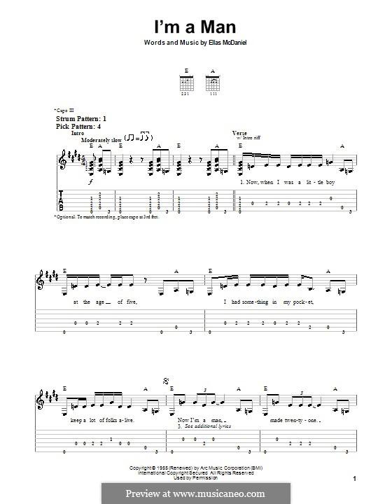 I'm a Man (The Yardbirds): Для гитары (очень легкая версия) by Ellas McDaniel